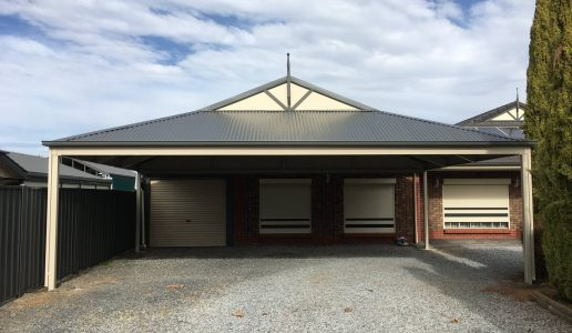 Freestanding Dutch Gable Carport  with Woodland Grey Roof & Paperbark Frame