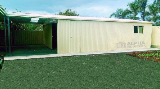 Classic Cream™ Garage with Attached Carport